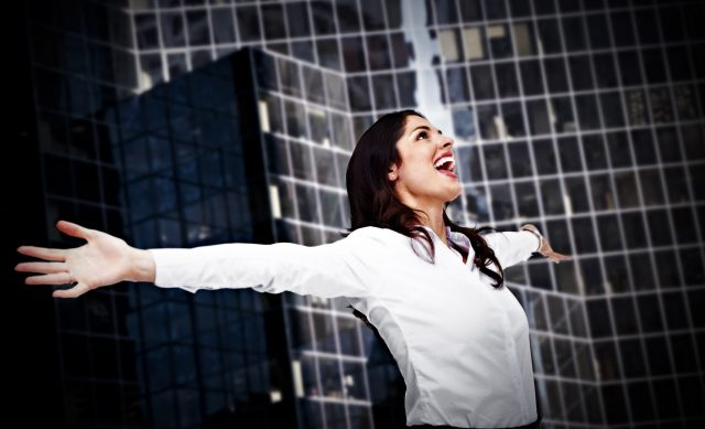 productive happy-business-woman