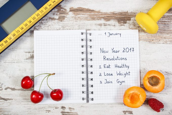 New year resolutions or goals in notebook