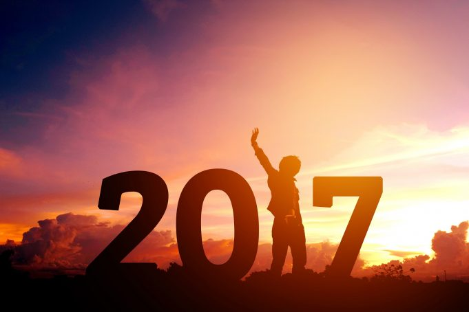 2017 Silhouette young man Happy for 2017 new year