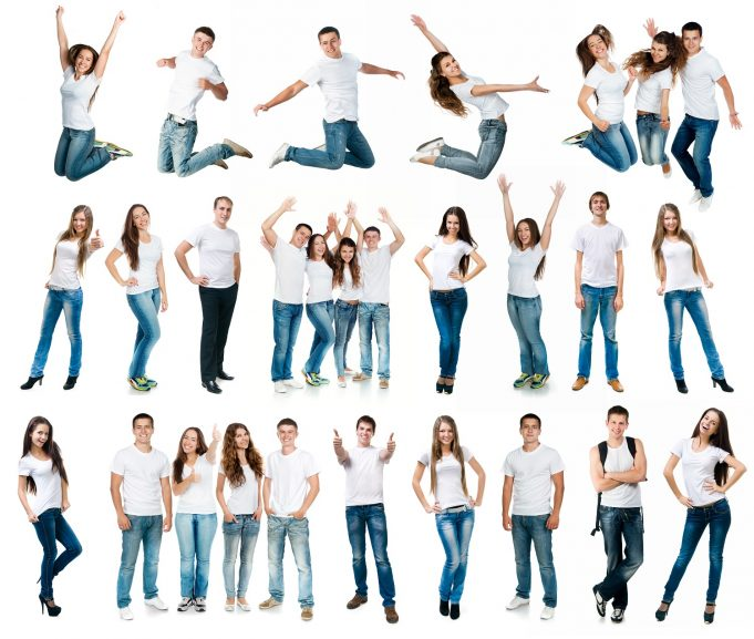 jeans photo collage of young boys and girls in t-shirts and jeans