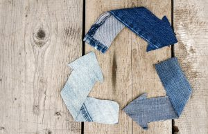 Recycle Logo from used old jeans denim fabric
