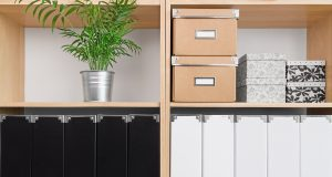Shelves with storage boxes