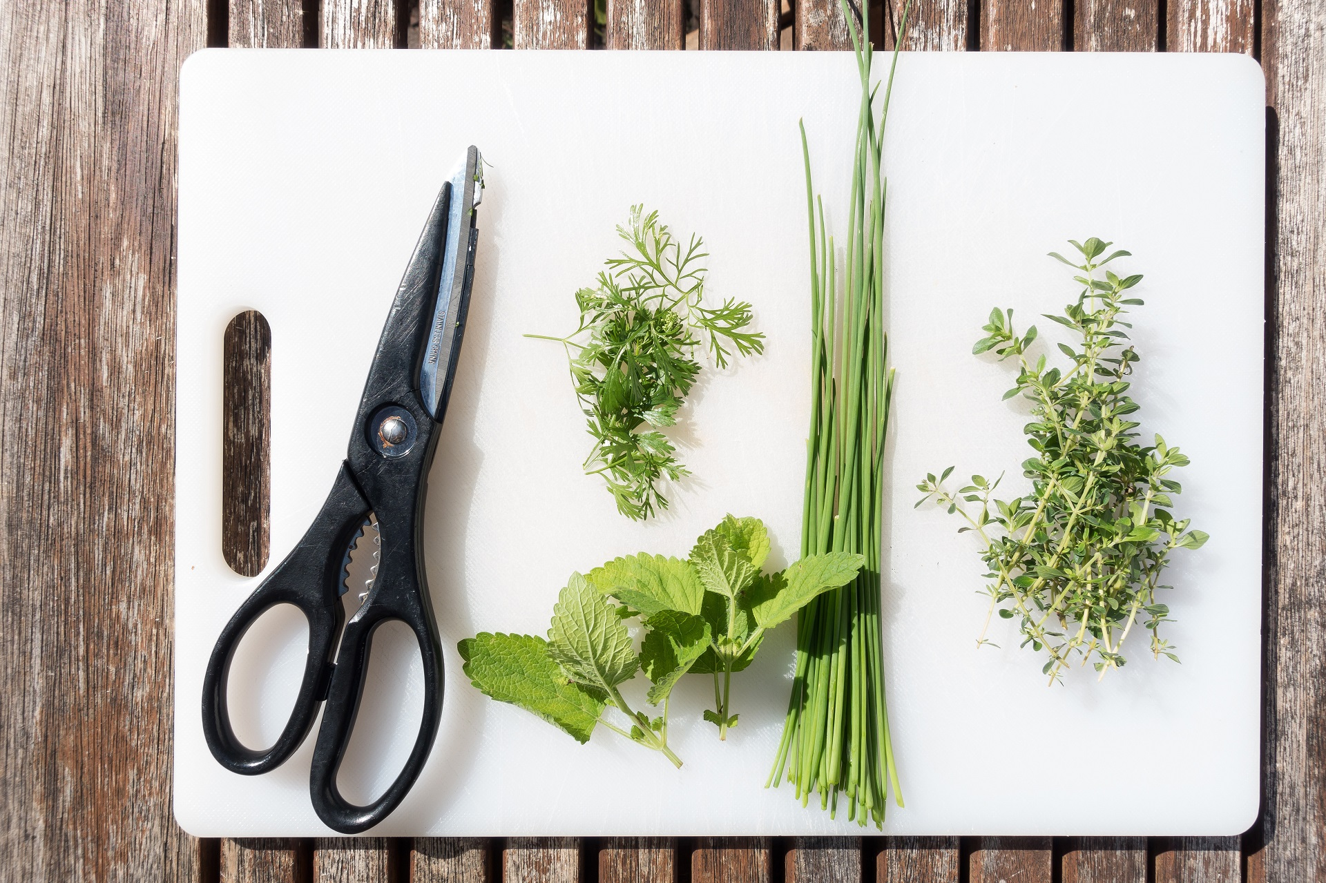 Herbs add flavor to salads.