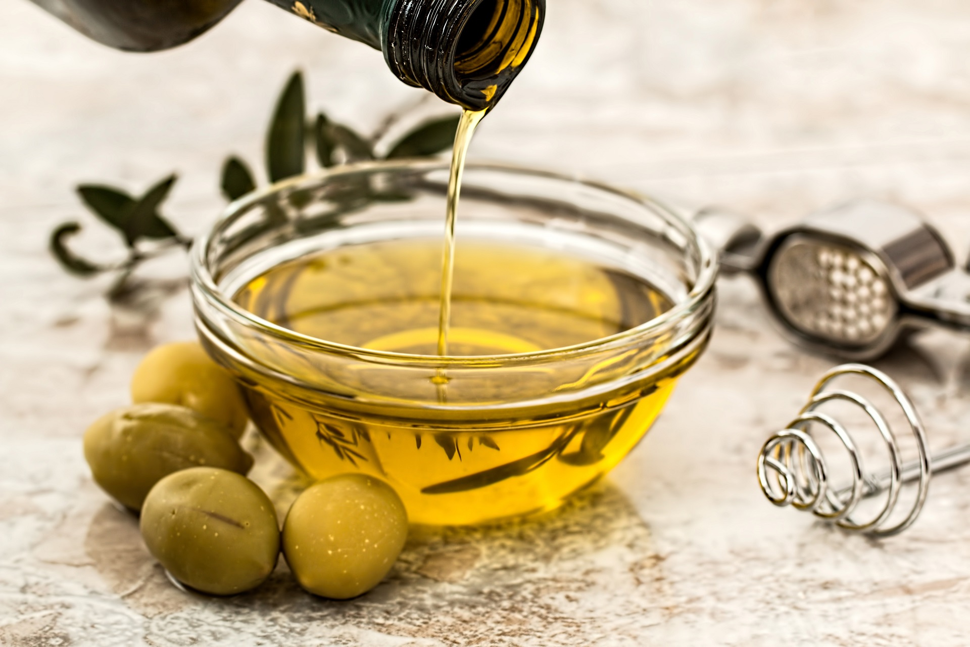 Olive oil as dressing for salads.