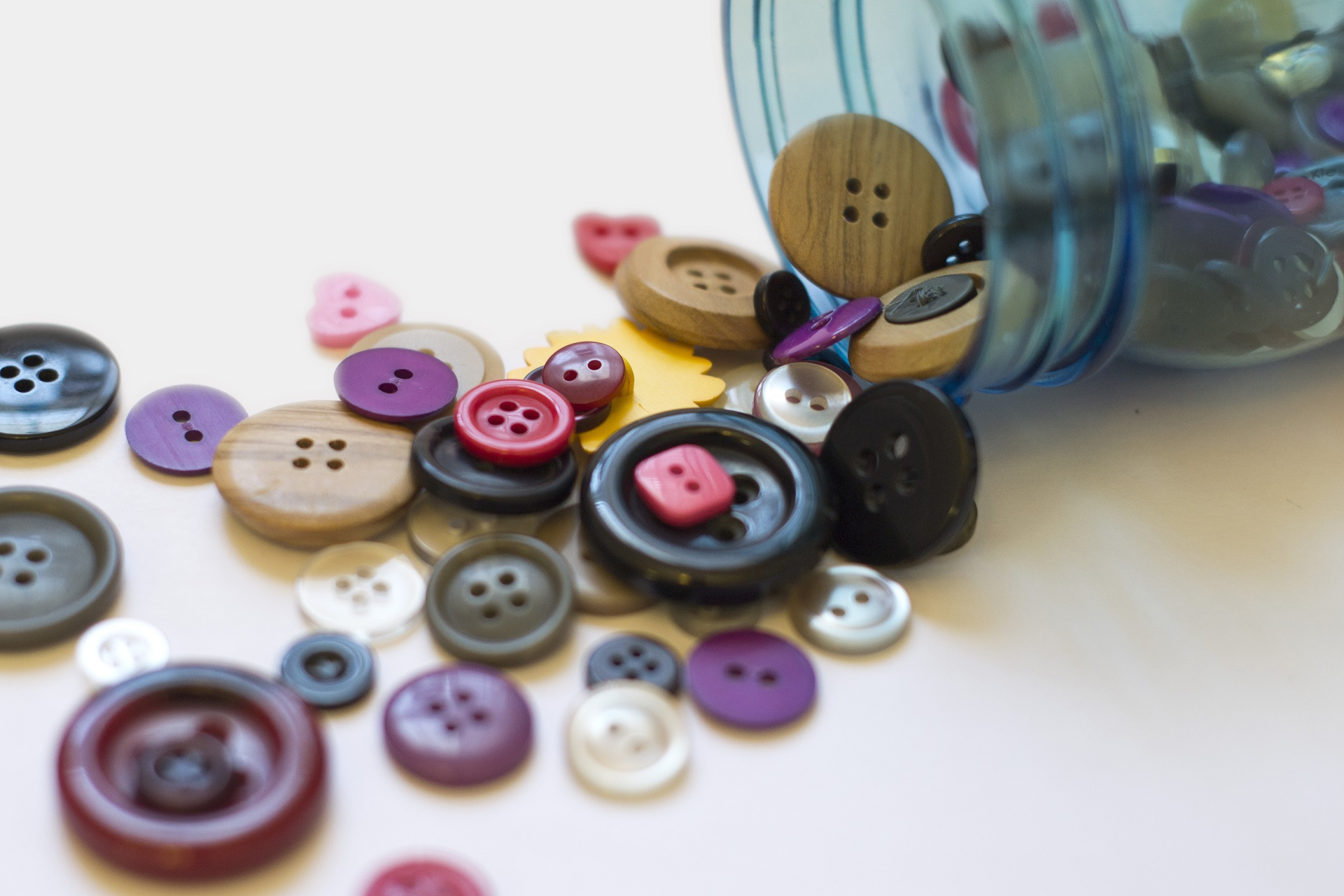 Buttons in a mason jar.