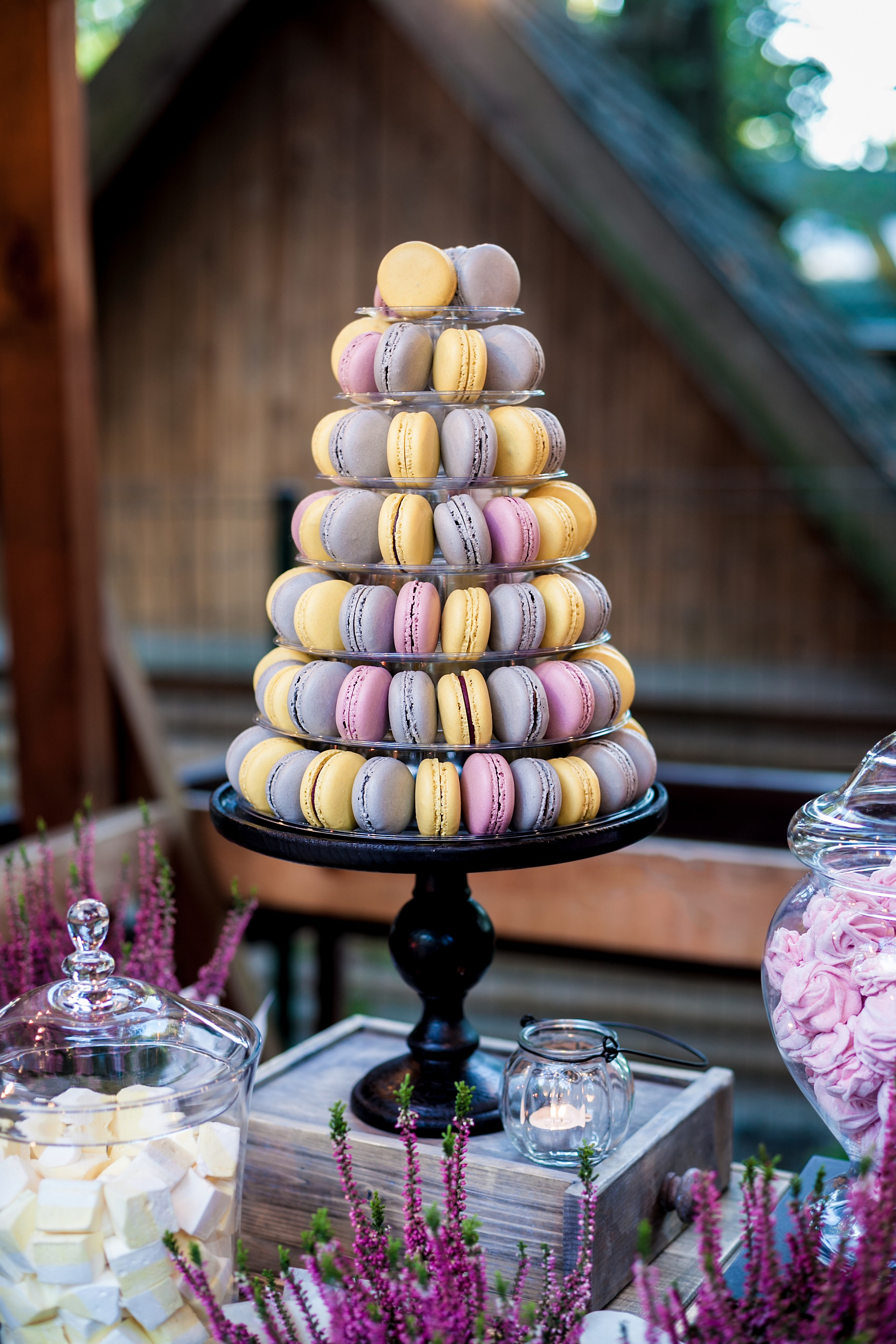Macaron tower instead of a conventional birthday cake.
