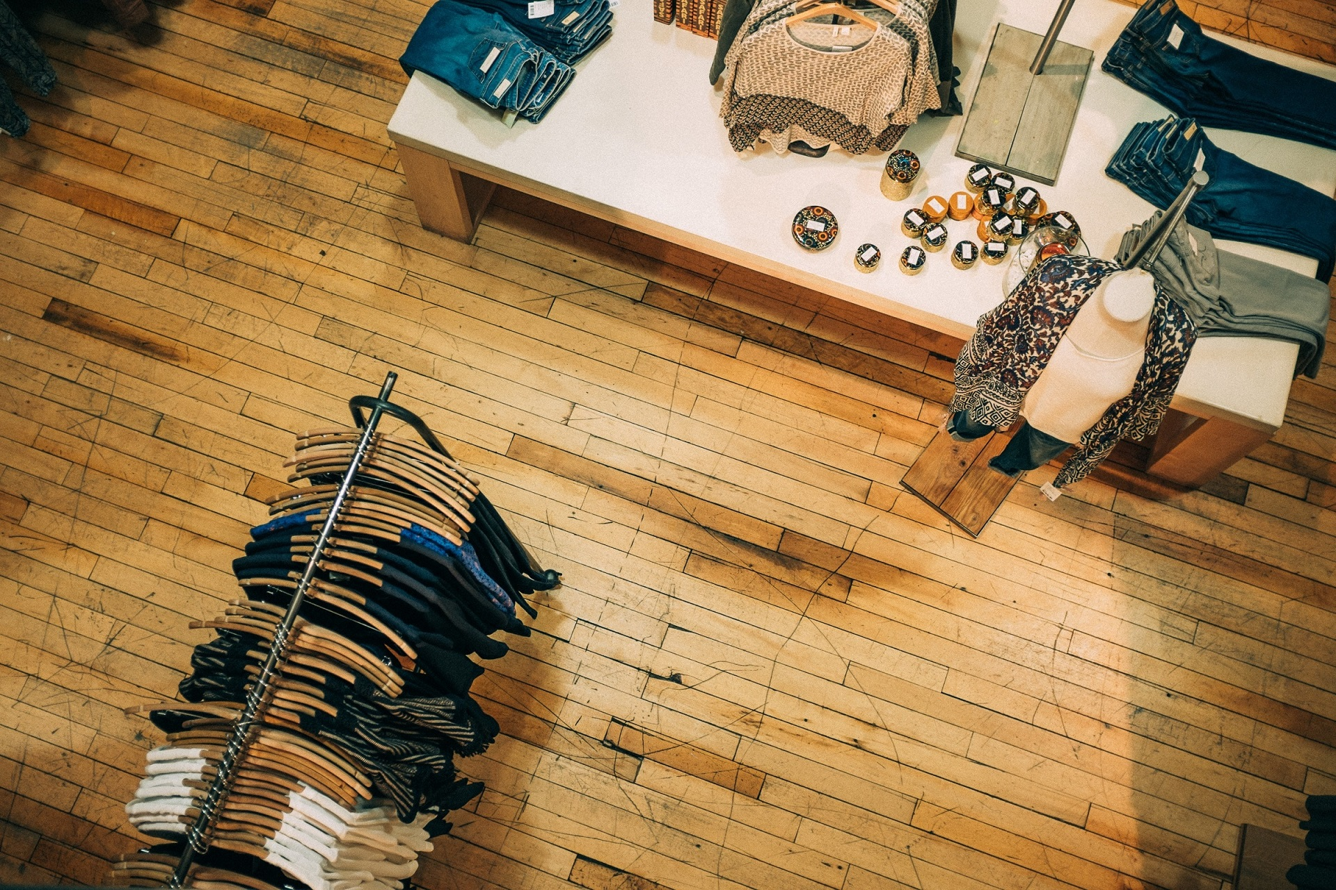 Second hand clothing stores are a great sustainable fashion idea.